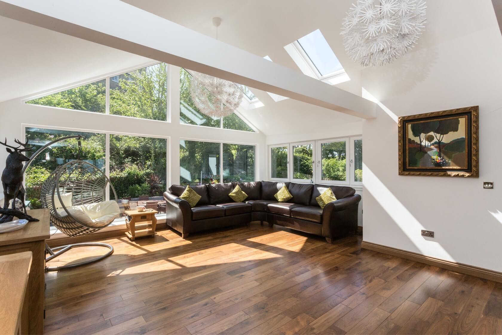 Sunroom extension on flat roof at Back Road Dunbar